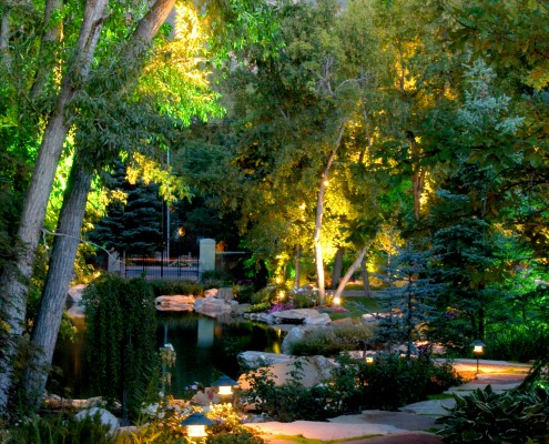 pathway landscape lighting by pond