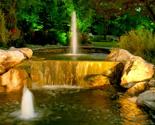 elegant water feature lighting in slc