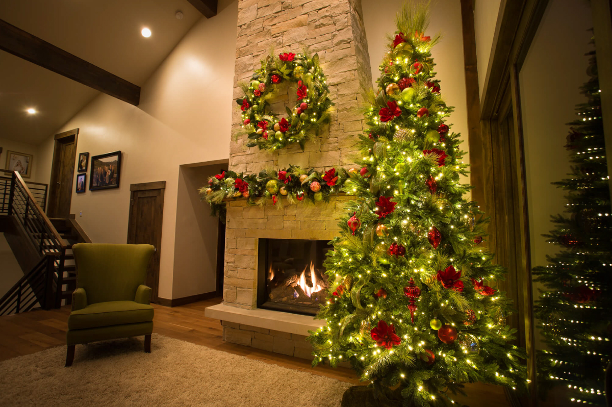 Interior holiday decor in a Park City home